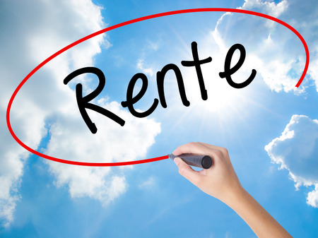 Woman Hand Writing Rente (Pension in German) with black marker on visual screen. Isolated on Sunny Sky. Business, technology, internet concept. Stock Photo