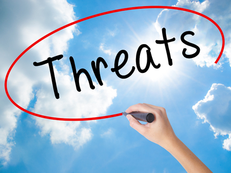 Woman Hand Writing Threats with black marker on visual screen. Isolated on Sunny Sky. Business concept. Stock Photo