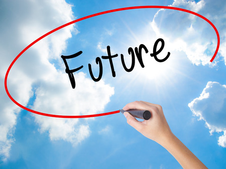 Woman Hand Writing Future  with black marker on visual screen. Isolated on Sunny Sky. Business, technology, internet concept.