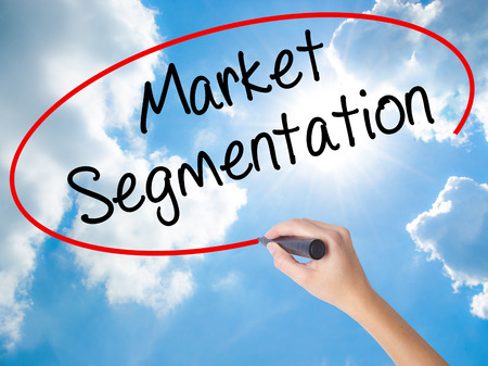 categorize: Woman Hand Writing Market Segmentation with black marker on visual screen. Isolated on Sunny Sky. Business concept. Stock Photo