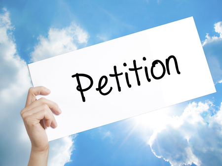 Woman Hand Writing Petition With Black Marker Over Transparent