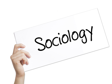infeasible: Sociology  Sign on white paper. Man Hand Holding Paper with text. Isolated on white background.  Business concept. Stock Photo Stock Photo