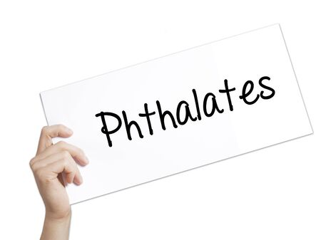 phthalates: Phthalates  Sign on white paper. Man Hand Holding Paper with text. Isolated on white background.  Business concept. Stock Photo