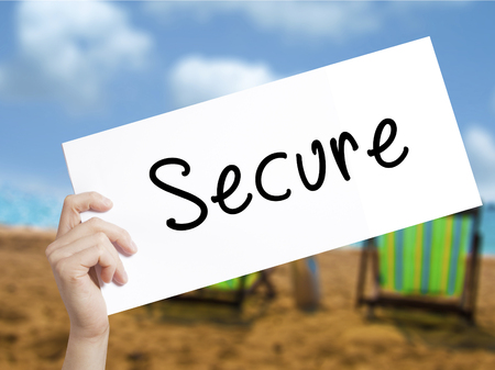 jeopardy: Secure with marker on transparent wipe board.  internet, technology concept. Stock Photo