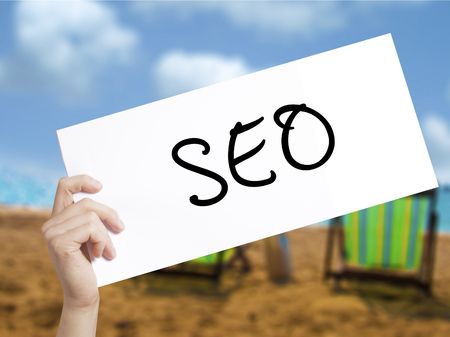 SEO with marker on transparent wipe board.  internet, technology concept. Stock Photo Stock Photo