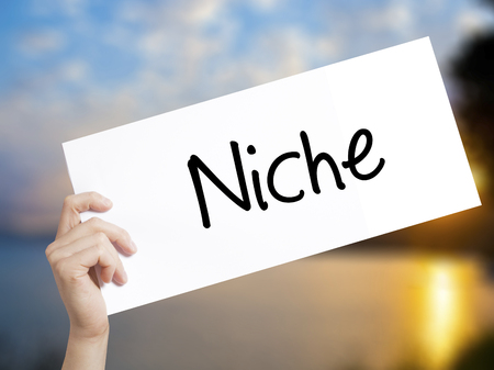 specialize: Niche Sign on white paper. Man Hand Holding Paper with text. Isolated on sunset background.  Business concept. Stock Photo