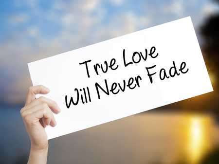 need direction: True Love Will Never Fade Sign on white paper. Man Hand Holding Paper with text. Isolated on sunset background.  Business concept. Stock Photo