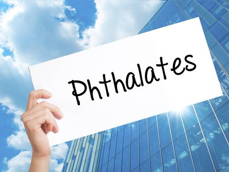 phthalates: Phthalates  Sign on white paper. Man Hand Holding Paper with text. Isolated on Skyscraper background.  Business concept. Stock Photo