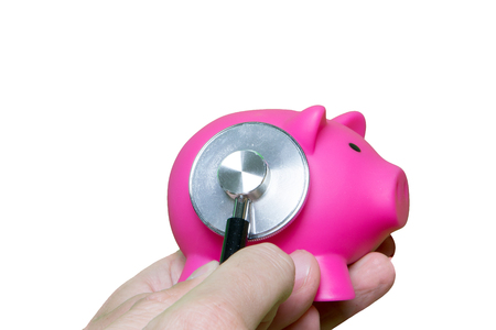 A financial check with a stethoscope isolated on a white background