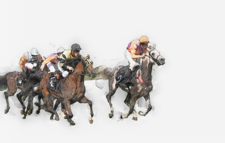 Horse race riding sport jockeys competition horses running watercolor painting illustration