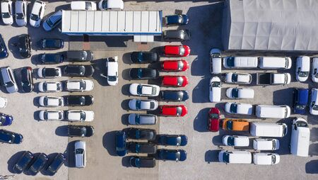 Aerial view cars for sale stock lot row, Car Dealer Inventory, parking lot