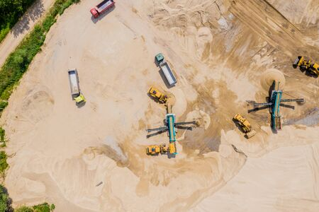 Aerial view of sand mining operation extracting a range of mineral sands.
