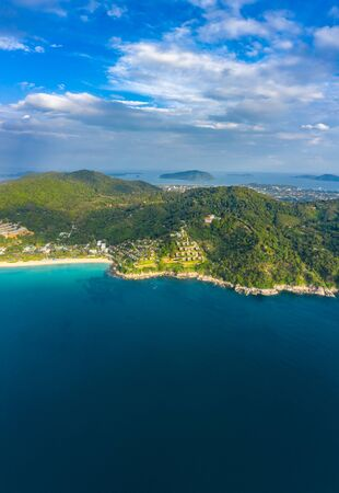 aerial view sunset above Nai Harn beach. Nai Harn beach is a famouse landmark and popular sunset viewpoint of Phuket Thailand