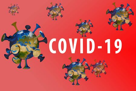 Inscription COVID-19 on red background. World Health Organization WHO introduced new official name for Coronavirus disease named COVID-19