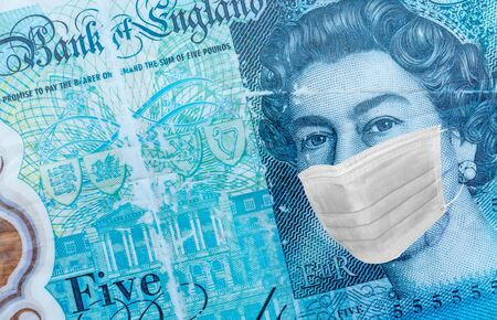 Queen Elizabeth II 5 pounds With Worried and Concerned Expression Wearing Medical White Face Mask On five pounds Bill