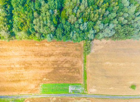 Aerial view of agricultural fields in Europe, Poland. Beautiful landscape. Captured from above with a drone