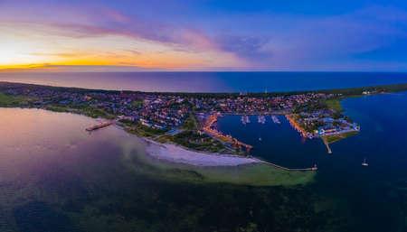 Beautiful Panorama color sky, sunset by the Baltic Sea, Jastarnia, Poland. Harbor. Aerial View Stock fotó