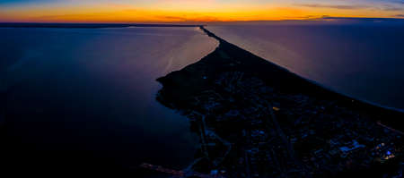 Beautiful Panorama color sky, sunset by the Baltic Sea, Jastarnia, Poland. Aerial View