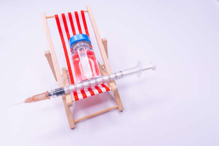 Medical drug vaccine syringe needle hypodermic injection treatment on map world, Medical concept tourism travel care diseases Healthy
