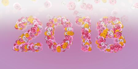 typo: 2018 Floral Typo with ranunculus in big letters on pink Stock Photo