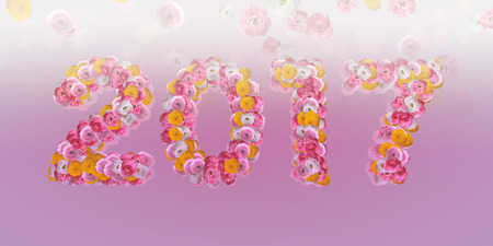 big letters: 2017 Floral Typo with ranunculus in big letters on pink