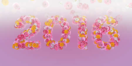 typo: 2016 Floral Typo with ranunculus in big letters on pink