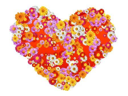 marguerites: Heart Sahpe with flowers full of marguerites Stock Photo