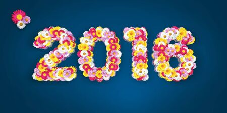 big letters: 2016 Floral Typo with marguerites in big letters on blue Stock Photo