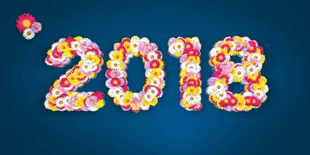marguerites: 2018 Floral Typo with marguerites in big letters on blue