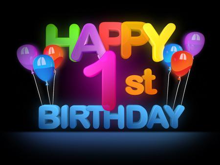 Glücklicher 1. Geburtstag Titel in großen Buchstaben Lizenzfreie Bilder