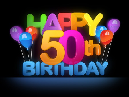 Happy 50th Title in big letters, dark