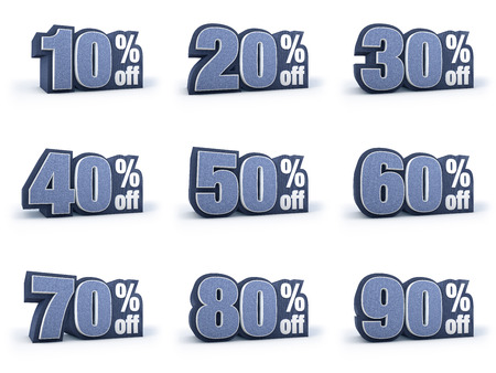 40: Discount price signs in blueish denim look, isolated on white background, 3D rendering, 10 off, 20 off, 30 off, 40 off, 50 off, 60 off, 70 off, 80 off, 90 off Stock Photo