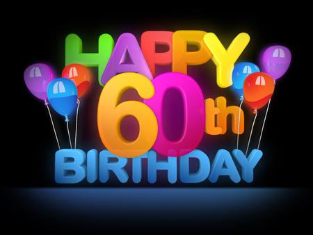 Happy 60th Title in big letters, dark