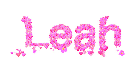 leah: Name set with hearts decorative lettering type design Stock Photo
