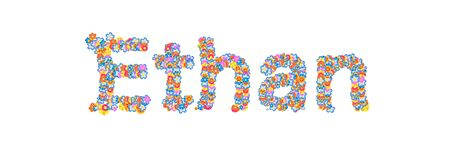ethan: Male name filled with flowers separated with white