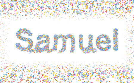samuel: Male name coated with various colorful flowers and colorful border Stock Photo