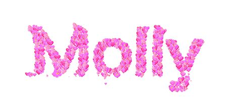 molly: Name set with hearts decorative lettering type design Stock Photo