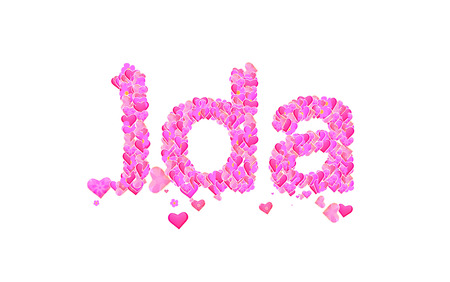 ida: Name set with hearts decorative lettering type design Stock Photo