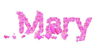 Name set with hearts decorative lettering type design Stock Photo