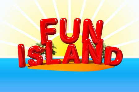 big letters: Fun Island in Big Letters on Island, 3D Illustration Stock Photo