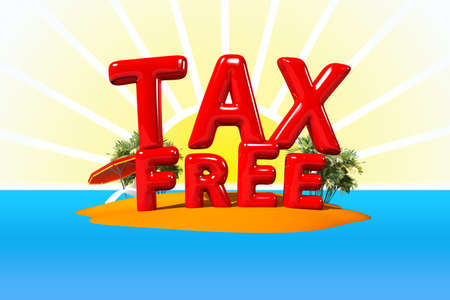 big letters: TAX Free on Island in Big Letters, 3D Illustration