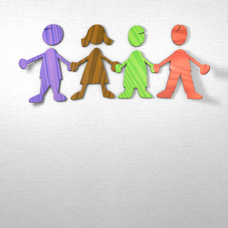 blow up: Wood cutted kids in different colors holding hands together on paper structured background
