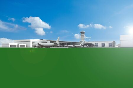 airfield: Airfield with planes and blue sky and copy space illustration Stock Photo