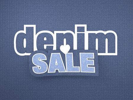 typo: Blue Denim Sale Background with Big Letters for Advertising, Web, Banner and Print. Blue Denim structure 3D Rendered Typo Design.
