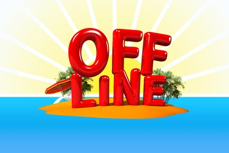 offline: Offline on Island in Big Letters, 3D Illustration