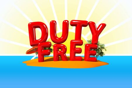 big letters: Duty Free on Island in Big Letters, 3D Illustration Stock Photo