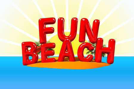 big letters: Fun Beach in Big Letters on Island, 3D Illustration