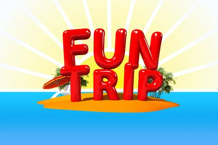 big letters: Fun Trip in Big Letters on Island, 3D Illustration Stock Photo