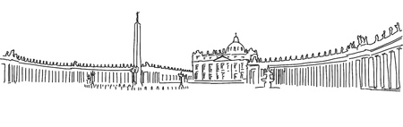 dome type: Hand drawn Saint Peter Square and Saint Peter Basilica. Vatican. Outline Sketch.