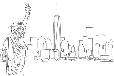Free hand sketch of New York City skyline. Vector Outline Scribble Illustration